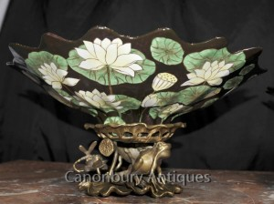 Pair French Art Nouveau Plates Comports Ormolu Frog Base