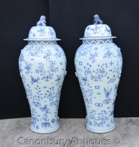 Pair Large Blue and White Ming Porcelain Lidded Urns Vases Temple