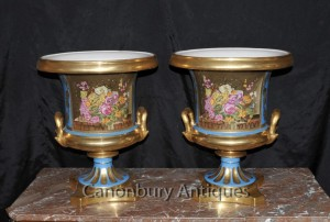 Pair Sevres Porcelain Campana Urns Planters French Floral Vases