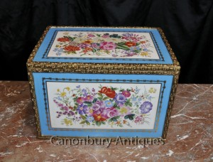 French Sevres Porcelain Floral Jewellery Box Trinket Case