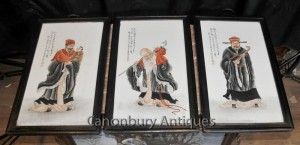 Trio Chinese Porcelain Plaques Hand Painted Wise Men Triptych