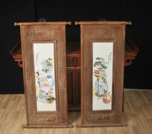 Chinese Painted Porcelain Screens Famille Rose Plaques Wood