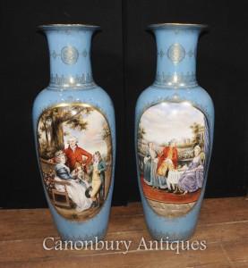 Pair Big French Sevres Porcelain Romantic Urns Paris Vase