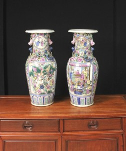 Pair Chinese Canton Porcelain Vases Urns Cantonese