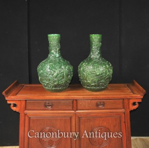 Pair Chinese Green Cinnabar Lacquer Dragon Vases Urns Bulbous Urn