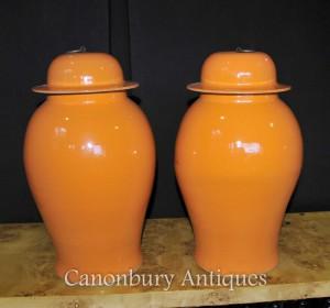 Pair Chinese Kangxi Porcelain Temple Ginger Jars Urns