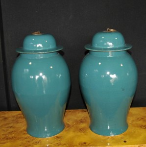 Pair Chinese Kangxi Porcelain Temple Jars Lidded Ginger Urns Vases
