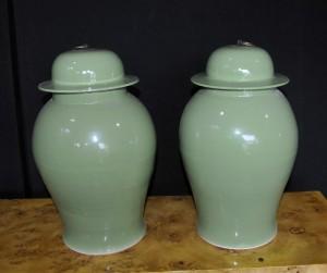 Pair Chinese Porcelain Ginger Jars Urns Vases Kangxi