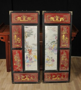 Pair Chinese Porcelain Qianlong Plaques Plates Ceramic Hanging Screen