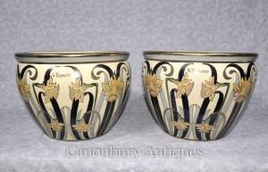 Pair Italian Art Nouveau Porcelain Planters Pots Signed Fieravino