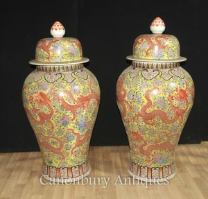 Pair Large Chinese Ming Porcelain Lidded Vases Urns Ginger Dragon Jars