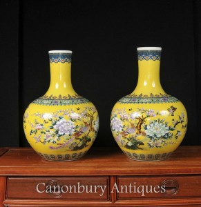 Pair Chinese Ming Porcelain Shangping Vases Urns Bulbous Floral Ceramic