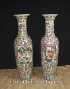 Pair Tall Chinese Canton Porcelain Vases Urns Cantonese Hand Painted Ceramic