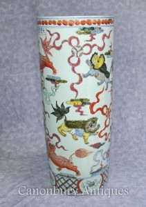 Chinese Porcelain Qianlong Dragon Umbrella Stand Urn Vase