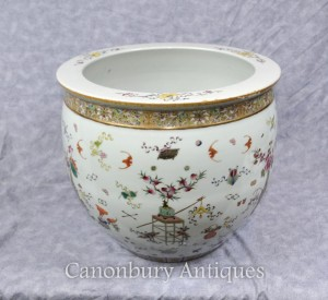 Chinese Qianlong Porcelain Planter Bowl Hand Painted Ceramic