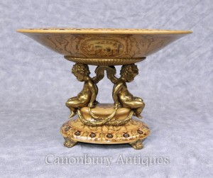 French Porcelain Cherub Comport Dish Bowl Ormolu Putti