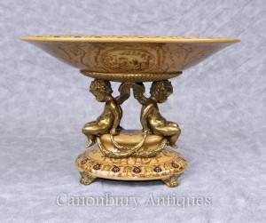 French Porcelain Cherub Comport Dish Bowl Ormolu Putti