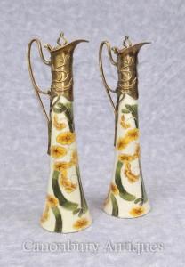 Pair Art Nouveau Porcelain Jugs Decanters Floral Motifs