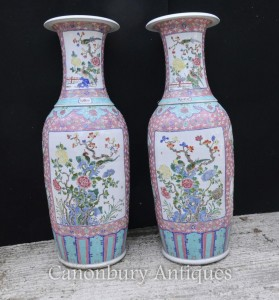 Pair Big Chinese Qianlong Porcelain Urns Vases Ceramic