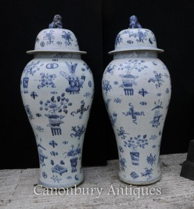 Pair Blue and White Nanking Ceramic Lidded Urns Vases Chinese Porcelain