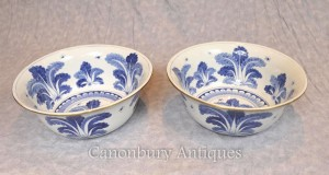 Pair Chinese Kangxi Porcelain Bowls Dishes Floral Planter