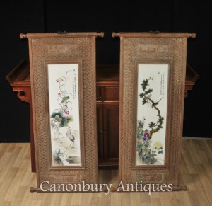 Pair Chinese Wucai Porcelain Plaques Paintings Cranes Hardwood Frame