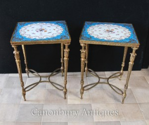 Pair Sevres Porcelain Side Tables Ormolu French Floral Spra
