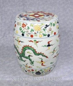 Single Qianlong Chinese Porcelain Garden Seat Stool Dragons