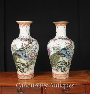 Pair Chinese Doucai Porcelain Vases Urns Pheasant Paintings