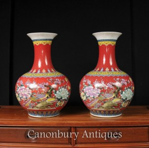 Pair Chinese Famile Rose Qing Vases Porcelain Urns