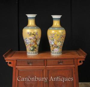 Pair Chinese Kangxi Porcelain Vases Famille Jaune Urns