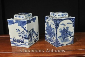 Pair Chinese Nanking Porcelain Lidded Urns Lozenge Form