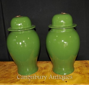 Pair Chinese Porcelain Lidded Urns Temple Jars Kangxi Ceramic