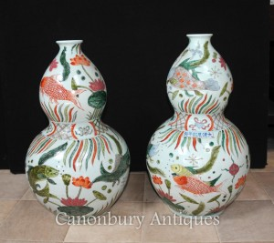 Pair Chinese Qianlong Porcelain Vases Urns Double Gourd Ceramic