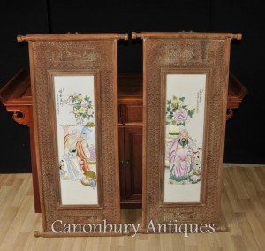 Pair Chinese Wucai Porcelain Buddhist Temple Plaques Screens Hand Painted