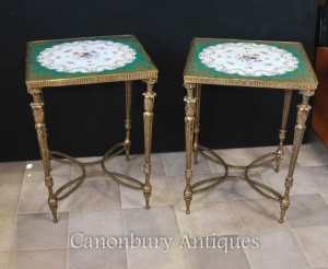 Pair Paris Sevres Gilt Porcelain Side Tables Floral Tops
