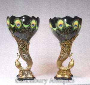 Pair Art Nouveau Porcelain Peacock Vases Bird Urns