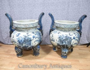 Pair Chinese Blue and White Nanking Porcelain Planters Incense Temple Burners Pots