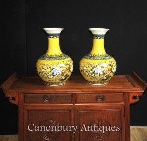 Pair Chinese Famille Jaune Porcelain Vases Shangping Form Urns