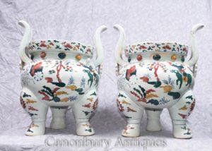 Pair Chinese Qianlong Porcelain Temple Jar Planters Incense Burners