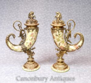 Pair French Porcelain Cornucopia Vases Urns Ormolu Horn of Plenty