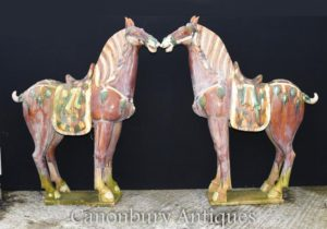 Pair Large Chinese Porcelain Tang Horses Pony Ceramic China Horse