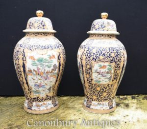 Pair Large Chinese Qing Porcelain Temple Ginger Jars Lidded Vases Urns