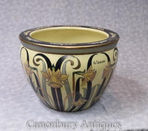 Single Art Nouveau Italian Porcelain Planter Pot Signed Fieravino