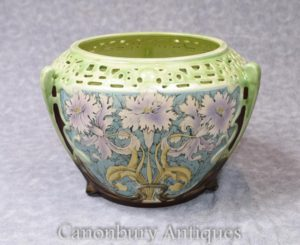 Single Art Nouveau Porcelain Floral Planter Cermaic China Pot