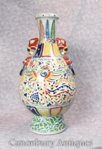 Single Chinese Qianlong Porcelain Dragon Urn Vase China Ceramic