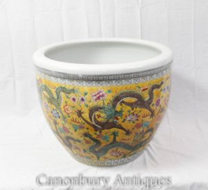 Chinese Ming Porcelain Dragon Planter Bowl Urn China