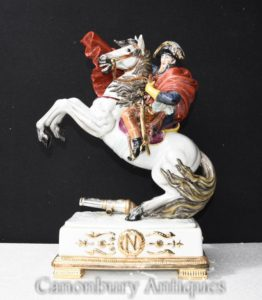 German Meissen Porcelain Napoleon on Horseback Statue Figurine