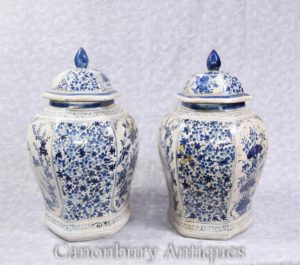 Pair Chinese Blue and White Porcelain Ginger Jars Vases Kangxi