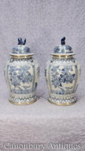 Pair Chinese Blue and White Porcelain Ming Ginger Urns Vases